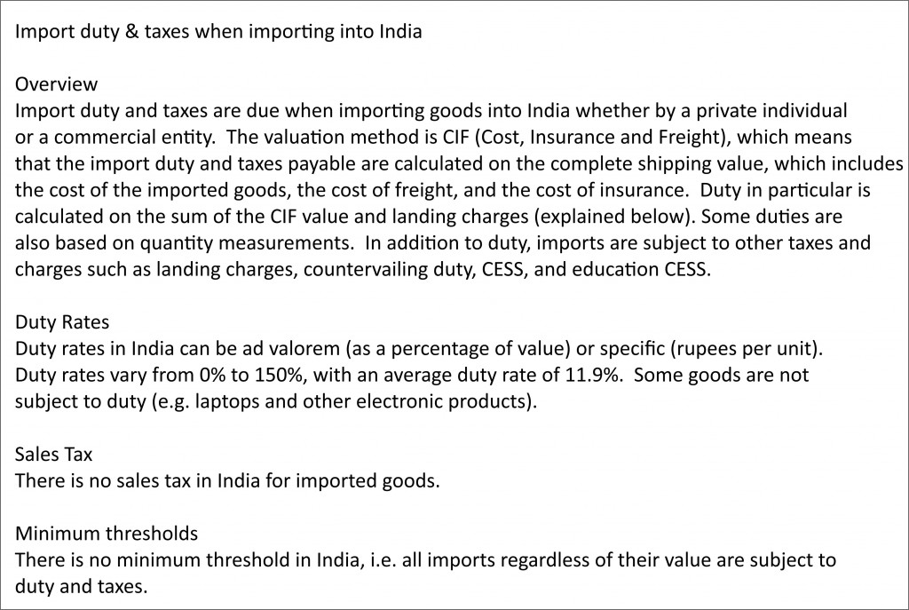 Cheap Cargo Services To India From UK - Import Duty And Taxes When Importing Goods Into India